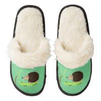 Cartoon Hedgehog on Small Pattern Pair Of Fuzzy Slippers