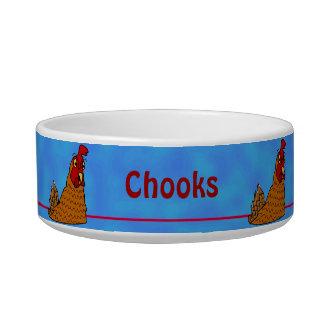 Cartoon Hen Chicken Chooks Blue Custom Pet Bowl