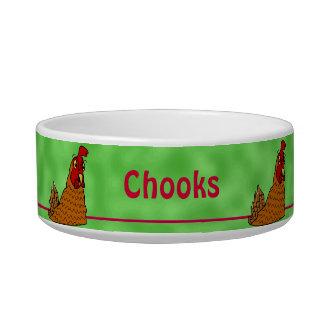 Cartoon Hen Chicken Chooks Green Custom Pet Bowl