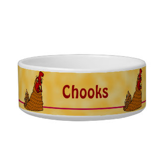 Cartoon Hen Chicken Chooks Yellow Custom Pet Bowl
