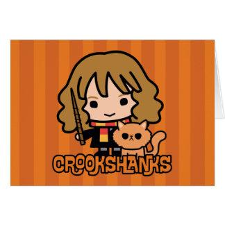 Cartoon Hermione and Crookshanks Card