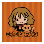 Cartoon Hermione and Crookshanks Poster