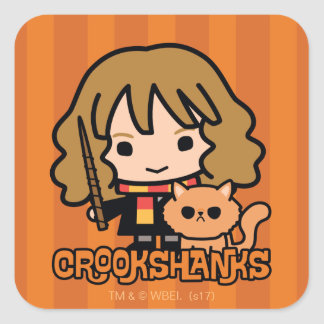 Cartoon Hermione and Crookshanks Square Sticker