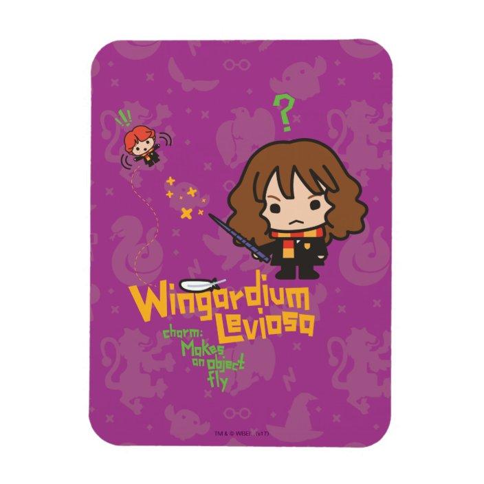 Cartoon Hermione And Ron Wingardium Leviosa Spell Magnet Zazzle Com