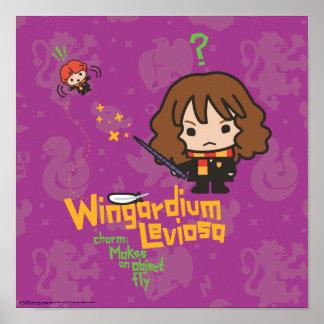 Cartoon Hermione and Ron Wingardium Leviosa Spell Poster