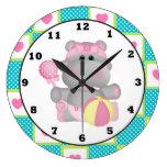 Cartoon Hippo Baby's Room wall clock