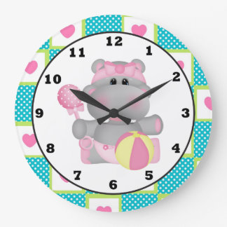 Cartoon Hippo Baby's Room wall clock