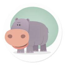 Cartoon Hippo Classic Round Sticker