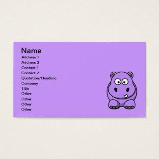 cartoon-hippo cute adorable friendly purple business card
