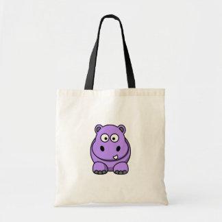 cartoon-hippo cute adorable friendly purple tote bag