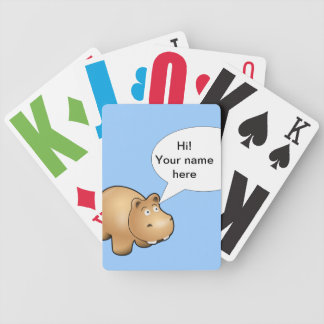 Cartoon hippo fully customizable bicycle playing cards