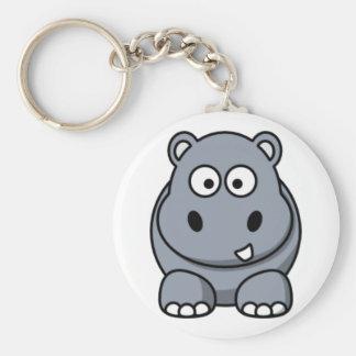 Cartoon Hippo Basic Round Button Keychain
