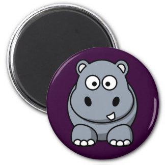 Cartoon Hippo Refrigerator Magnet