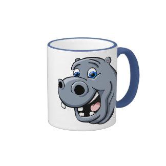 Cartoon Hippo Ringer Coffee Mug