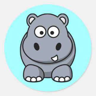 Cartoon Hippo Stickers