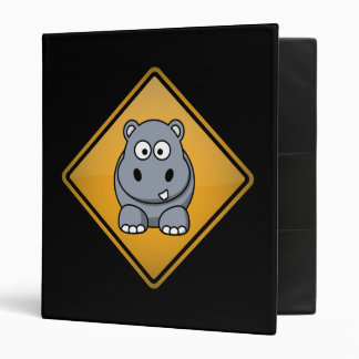 Cartoon Hippo Warning Sign Binder