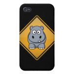 Cartoon Hippo Warning Sign iPhone 4/4S Cover