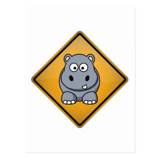 Cartoon Hippo Warning Sign Postcard