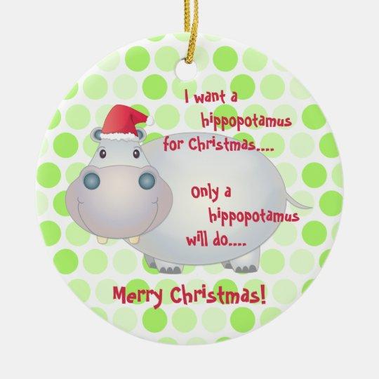 Cartoon Hippopotamus Christmas Ornament | Zazzle.com