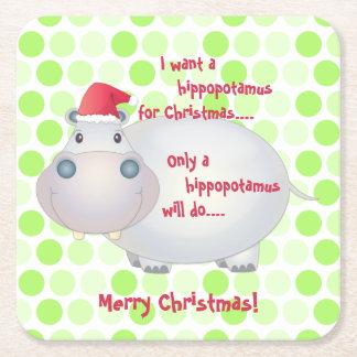 Cartoon Hippopotamus Christmas Xmas Square Paper Coaster