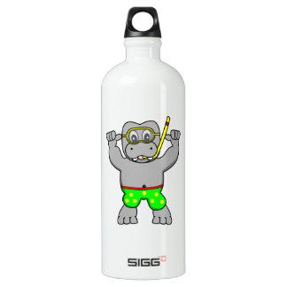 Cartoon Hippopotamus Snorkeling in Bathing Suit Water Bottle
