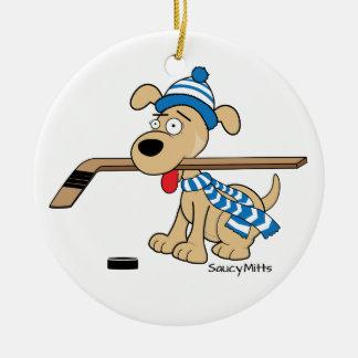 Cartoon Hockey Dog Christmas Ornament