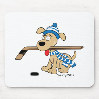 Cartoon Hockey Dog Mouse Pad
