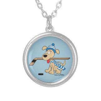 Cartoon Hockey Dog Round Pendant Necklace