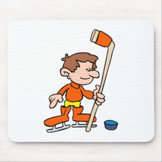Cartoon hockey player mouse pad