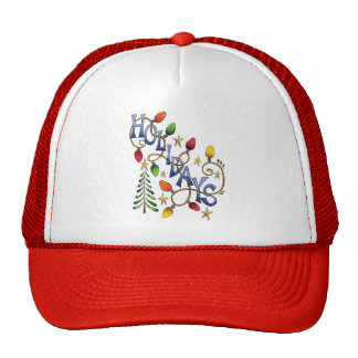 Cartoon Holidays Text with Christmas Lights Stars Hats