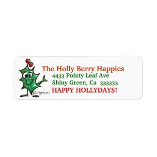 Cartoon Holly Christmas  Address Label Stickers