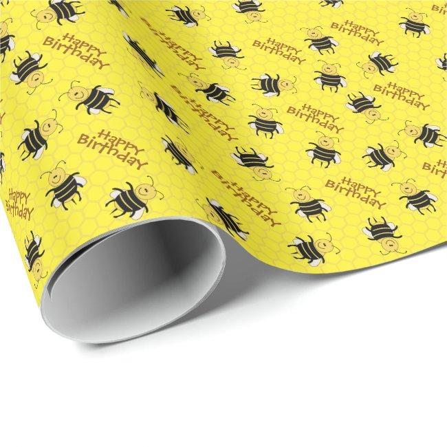 Cartoon Honey Bee Customizable Gift Wrap Beekeeper