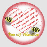 "Cartoon Honey Bees ""Bee My Valentine"" Photo Frame Classic Round Sticker"