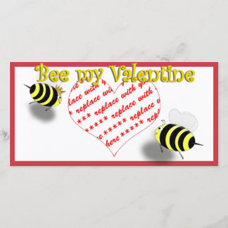 "Cartoon Honey Bees ""Bee My Valentine"" Photo Frame Holiday Card"