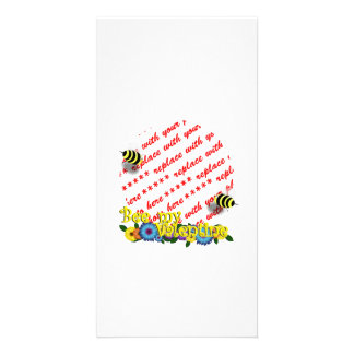 "Cartoon Honey Bees ""Bee My Valentine"" Photo Frame Customized Photo Card"