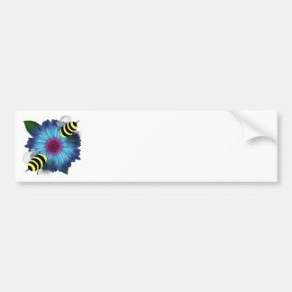 Cartoon Honey Bees Meeting on Blue Flower Bumper Stickers