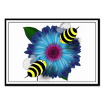 Cartoon Honey Bees Meeting on Blue Flower Large Business Cards (Pack Of 100)