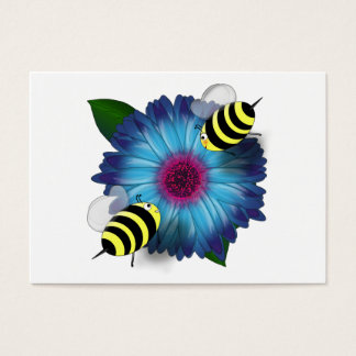 Cartoon Honey Bees Meeting on Blue Flower Business Card