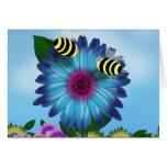 Cartoon Honey Bees Meeting on Blue Flower Greeting Cards