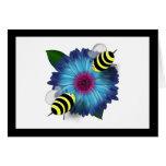 Cartoon Honey Bees Meeting on Blue Flower Greeting Card