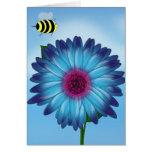Cartoon Honey Bees Meeting on Blue Flower Cards
