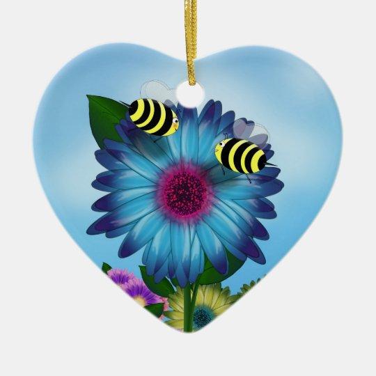 Cartoon Honey Bees Meeting on Blue Flower Ceramic Ornament