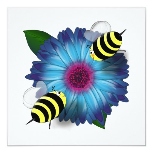 Cartoon Honey Bees Meeting on Blue Flower 5.25x5.25 Square Paper Invitation Card