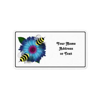 Cartoon Honey Bees Meeting on Blue Flower Label
