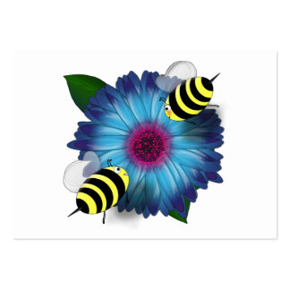 Cartoon Honey Bees Meeting on Blue Flower Large Business Card