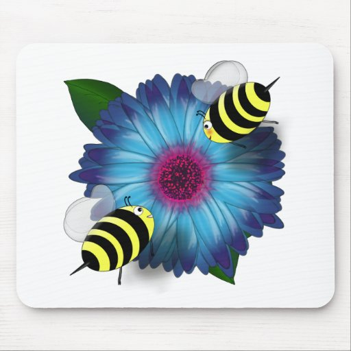 Cartoon Honey Bees Meeting on Blue Flower Mouse Pad