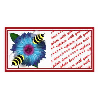 Cartoon Honey Bees Meeting on Blue Flower Photo Greeting Card