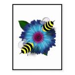 Cartoon Honey Bees Meeting on Blue Flower Postcard