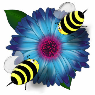 Cartoon Honey Bees Meeting on Blue Flower Statuette