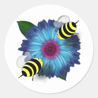 Cartoon Honey Bees Meeting on Blue Flower Classic Round Sticker